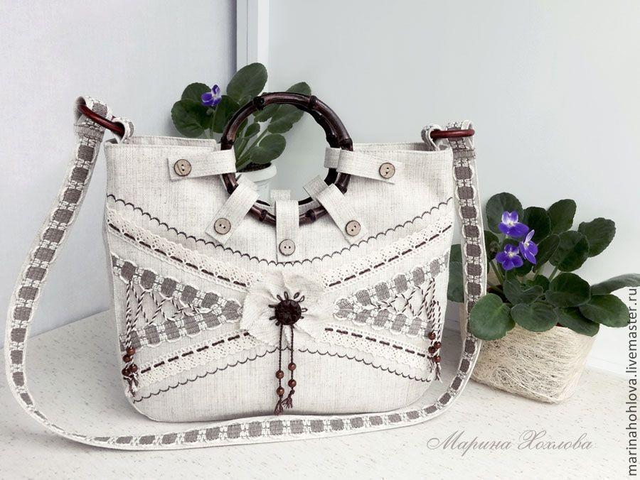 Купить Летняя льняная сумка Анюта - лен, льняная сумка, бохо, бохо-стиль, нежность