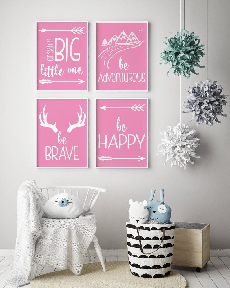 Baby Girl Wall Decoration New Dream Big Little One Pink Nursery Decor Baby Girl Pink White N Dekorasi Dinding Dekorasi Kamar Bayi Dekorasi Kamar Anak Perempuan
