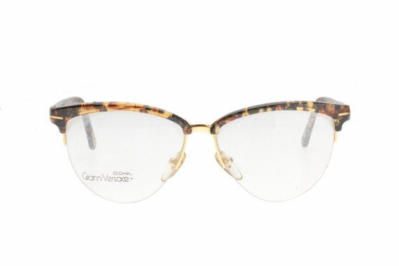 ec437798b53 Gianni Versace vintage rimless cateye clubmaster eyeglasses frame in demi  blonde or demi amber havan