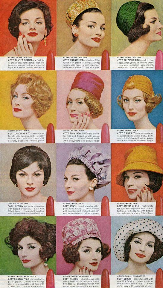 Coty Lipstick Colour guide 1950s makeup Vintage makeup