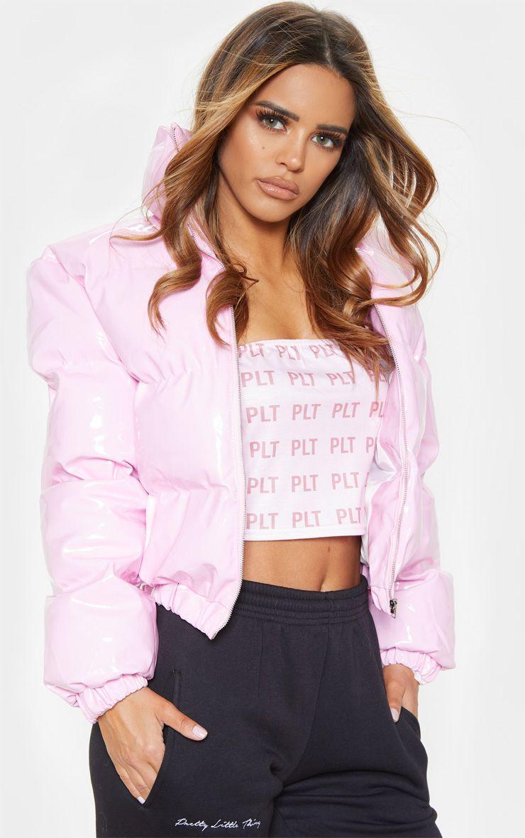 Pink Vinyl Puffer Coats Jackets Prettylittlething Usa [ 1180 x 740 Pixel ]