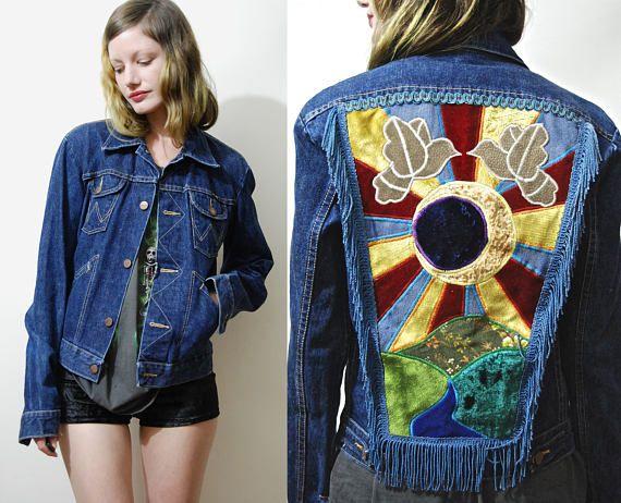 1cf14852ce ECLIPSE SUN   MOON RAY PATCHWORK JACKET Reworked 70s vintage Wrangler jacket  Dark blue denim with western style contrast stitching Velvet and denim ...