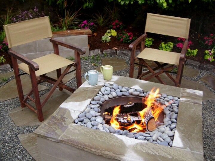 Diy Firepit Cap A Concrete Square With Sandstone Tiles And Fill With Gravel Then Add A Metal Fire Bowl And Diy Fire Pit Fire Pit Designs Fire Pit Backyard