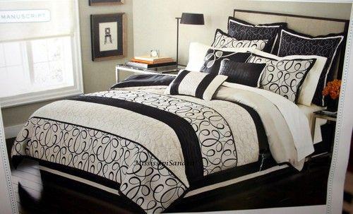 Martha Stewart Manuscript Full 9pc Comforter Set Beige
