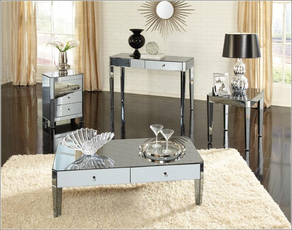 Standard Furniture Parisian Mirrored Sofa Table In Smoked Finish   BEYOND  Stores Photo Gallery