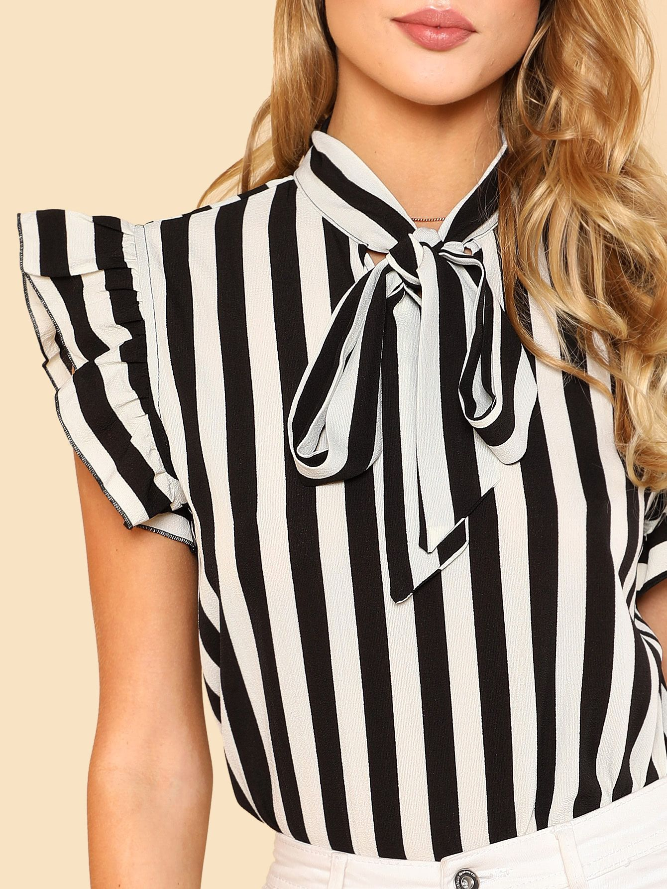 3c3498922f7381 Tie Neck Flutter Sleeve Striped Blouse -SheIn(Sheinside) | stylish ...