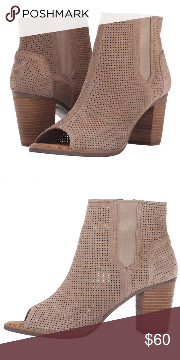 9670d74430e Toms Majorca Open Toed Booties · Size 7.5 stucco suede perforated · EUC ·  size 7.5 Toms Shoes Ankle Boots   Booties