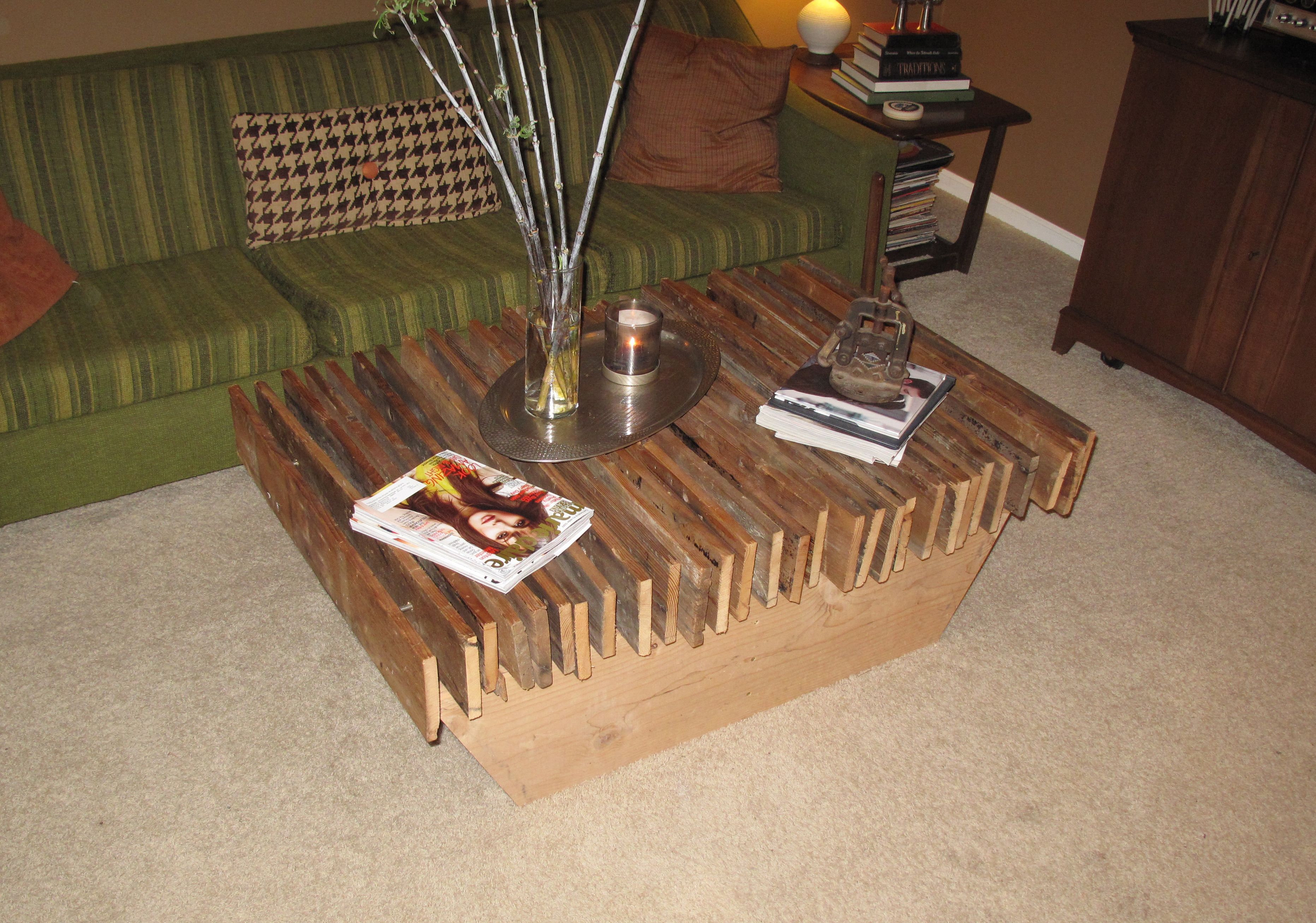 Reclaimed Rustic Slotted Wood Coffee Table · Homemade ...
