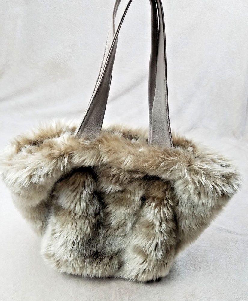 9225b53549 Imogen Faux Fur Handbag with Shoulder Strap Tote New