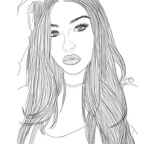 Girl Outline And Draw Image Outlines Pinterest