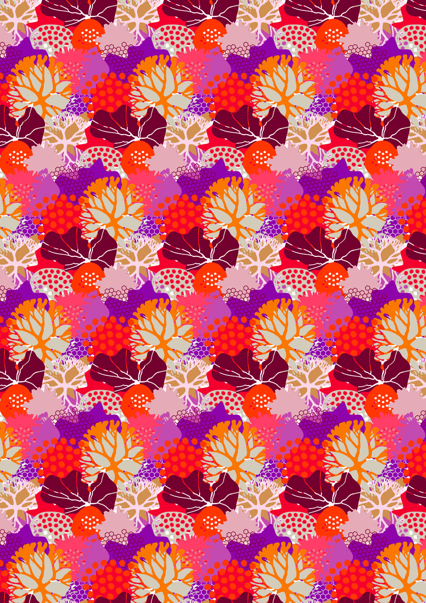 New patterns for TEXITURA MAGAZINE.Red algae. trends for 2014 pattern designs