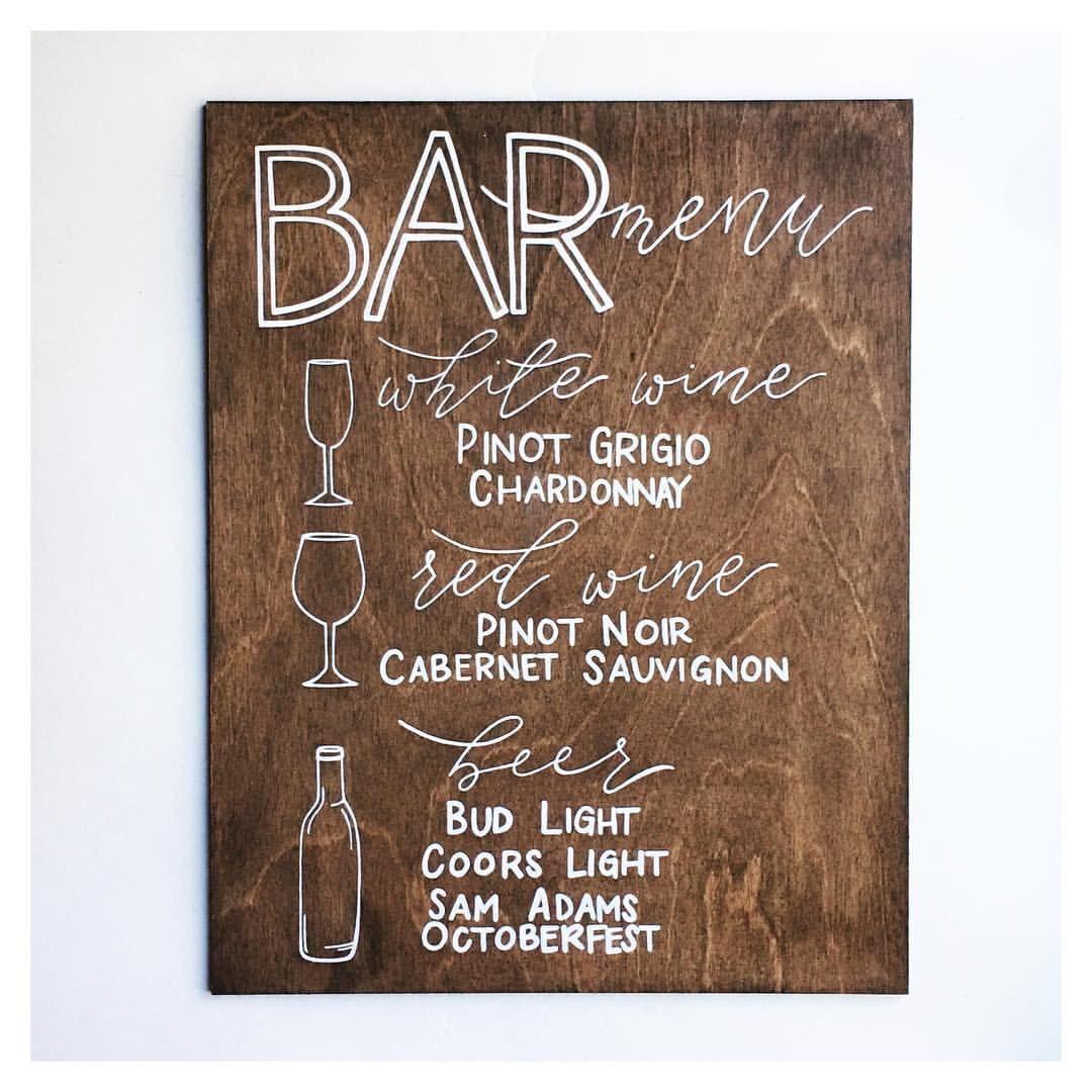 Bar menu wedding sign rustic wedding wood signs