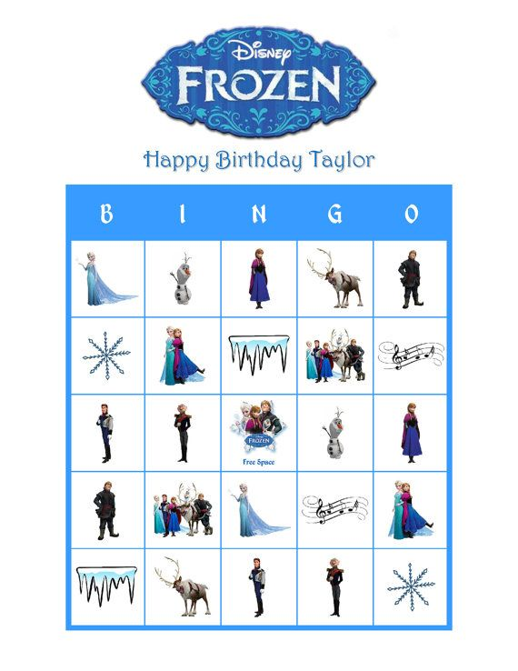 Disneys Frozen Personalized Birthday Party Bingo Game Delivered By Email