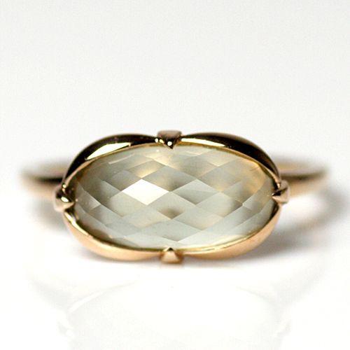 ivy k10 Oval Stone Ring / Green Quartz 01
