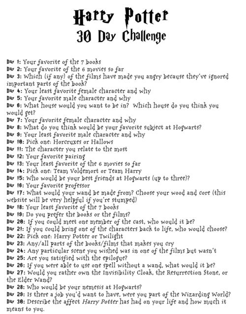Harry Potter Challenge I Ll Be Drawing These And Keep In Mind I M Terrible At Drawing So Herausforderungen Schreibideen Harry Potter Selber Machen