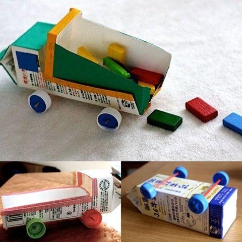manualidades infantiles camiones reciclados