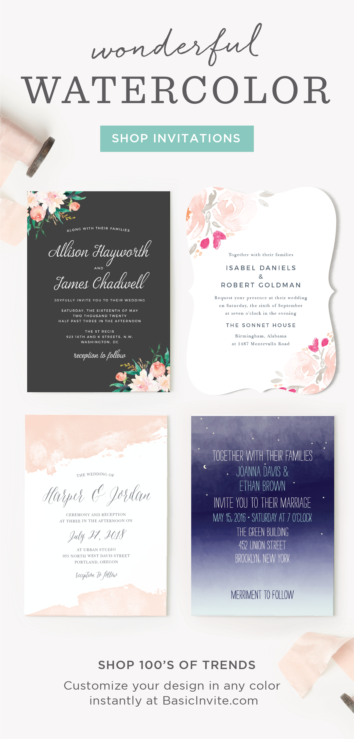 Trend alert! Watercolor wedding invitations are here to stay! From ...
