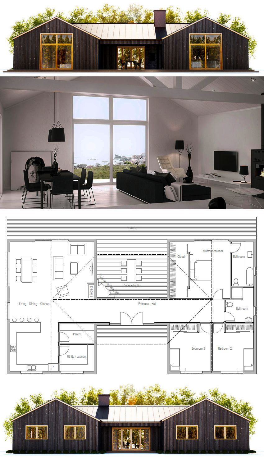 Small House Plan-Love the floor plan but want the outside to be logs ...