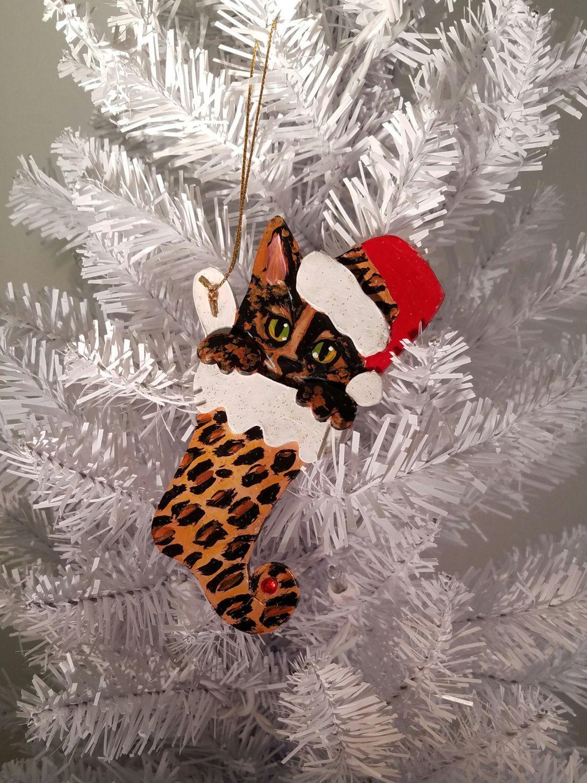 TORTOISESHELL CAT ORNAMENT Kitten in a Stocking Ornament