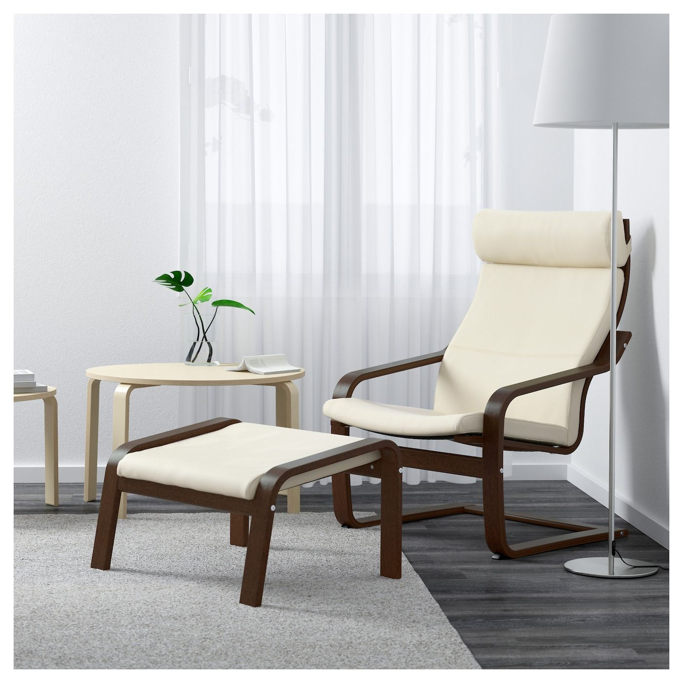 Poang Armchair Brown Glose Off White Home Furnishings