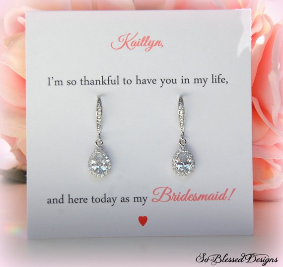 Rose Gold Jewelry Set Bridal Earrings,Wedding Jewelry Bridesmaid Gifts,Bridesmaid Earrings,Personalized Message for Bridesmaids