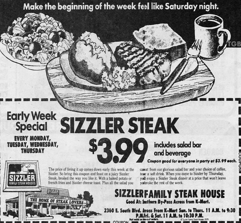 This Montgomery Sizzler advertisement promotes a 3.99