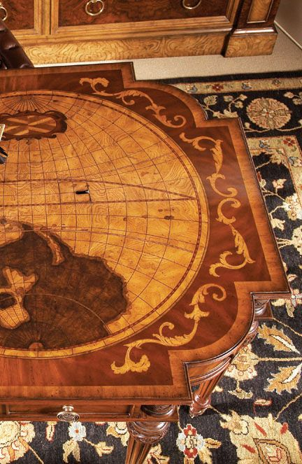 Maitland smith marquetry desk with inlaid wood detail of two globes maitland smith marquetry desk with inlaid wood detail of two globes gumiabroncs Choice Image