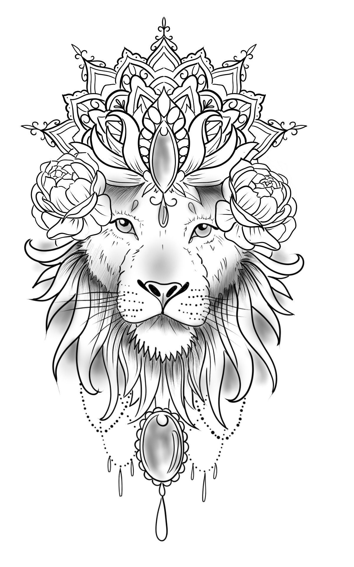 Lion Mandala Dotwork Tattoo Dotwork Lion Tattoo In 2020 Mandala Lion Tattoo Lion Head Tattoos Lion Tattoo Design