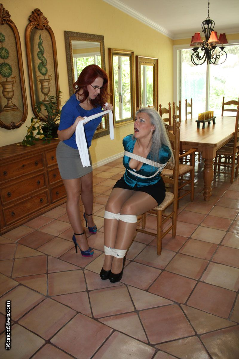 Hot Nice tied gagged redhead makes wet