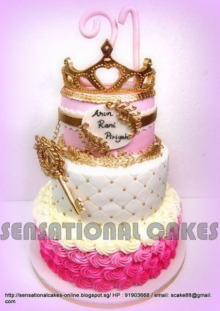 Birthday Cakes Singapore Wedding Children Longevity Corporate Gourmet Naughty 3 TIER PRINCESS PINK GOLDEN CAKE SINGAPORE FIT FOR A