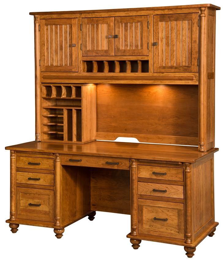 Rustic Americana Hardwood Executive Desk Home Office: Amish Rosemont Executive Desk With Optional Hutch Design