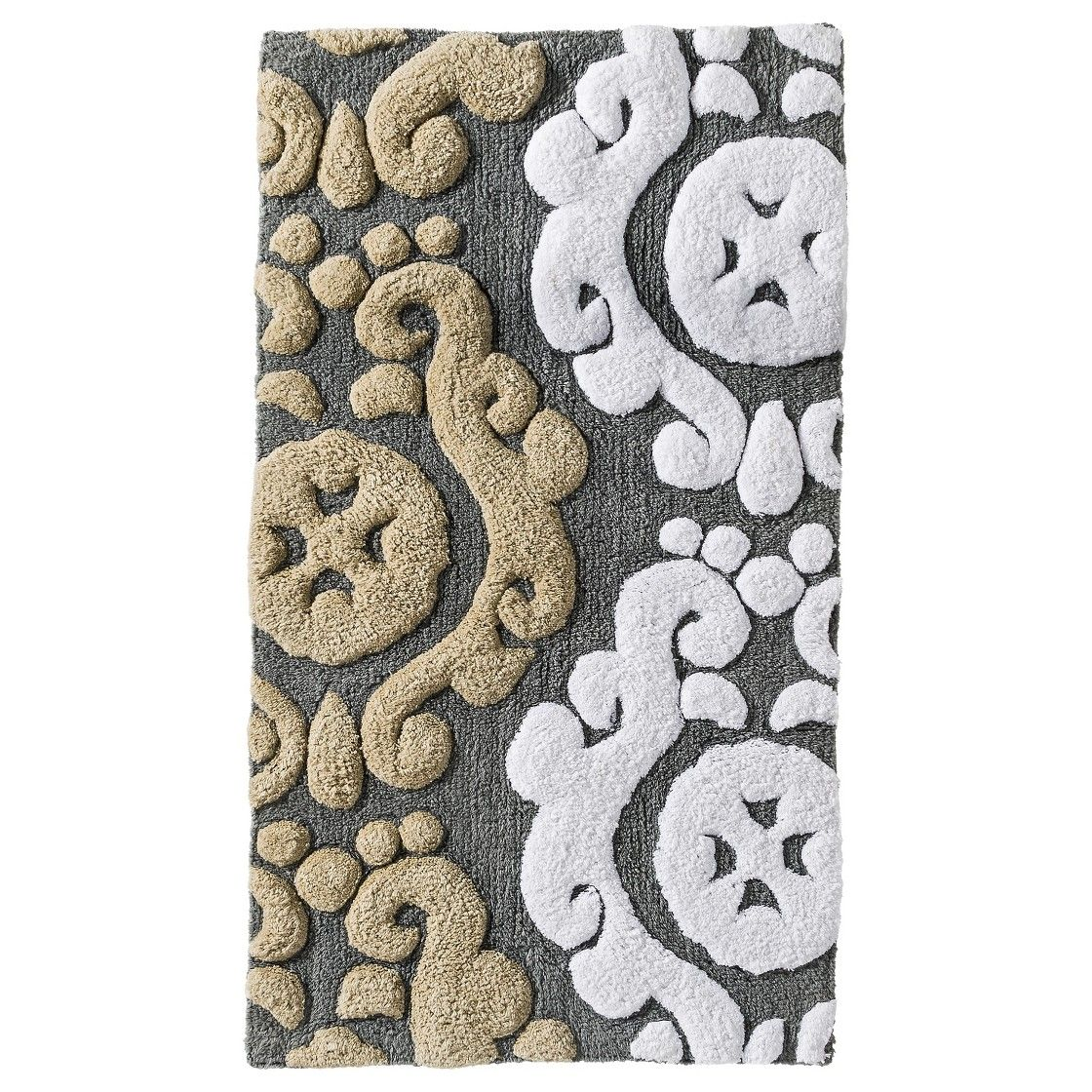 Scroll Patterned Bath Mat In Tan Grey White With Images