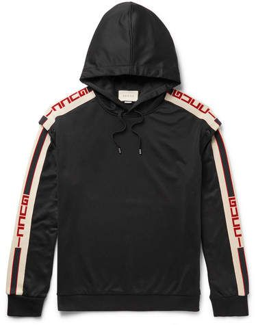 df087cd79c4 Gucci Webbing-Trimmed Tech-Jersey Hoodie in 2019