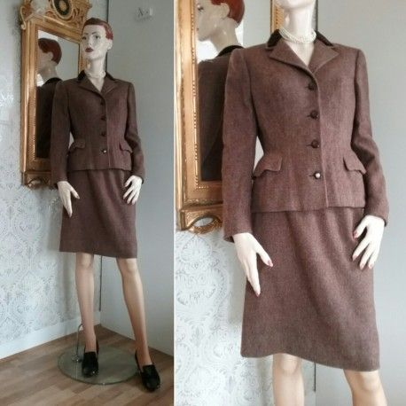 Vintage Brun tweed dräkt jacka kjol sammetskrage Kaplans