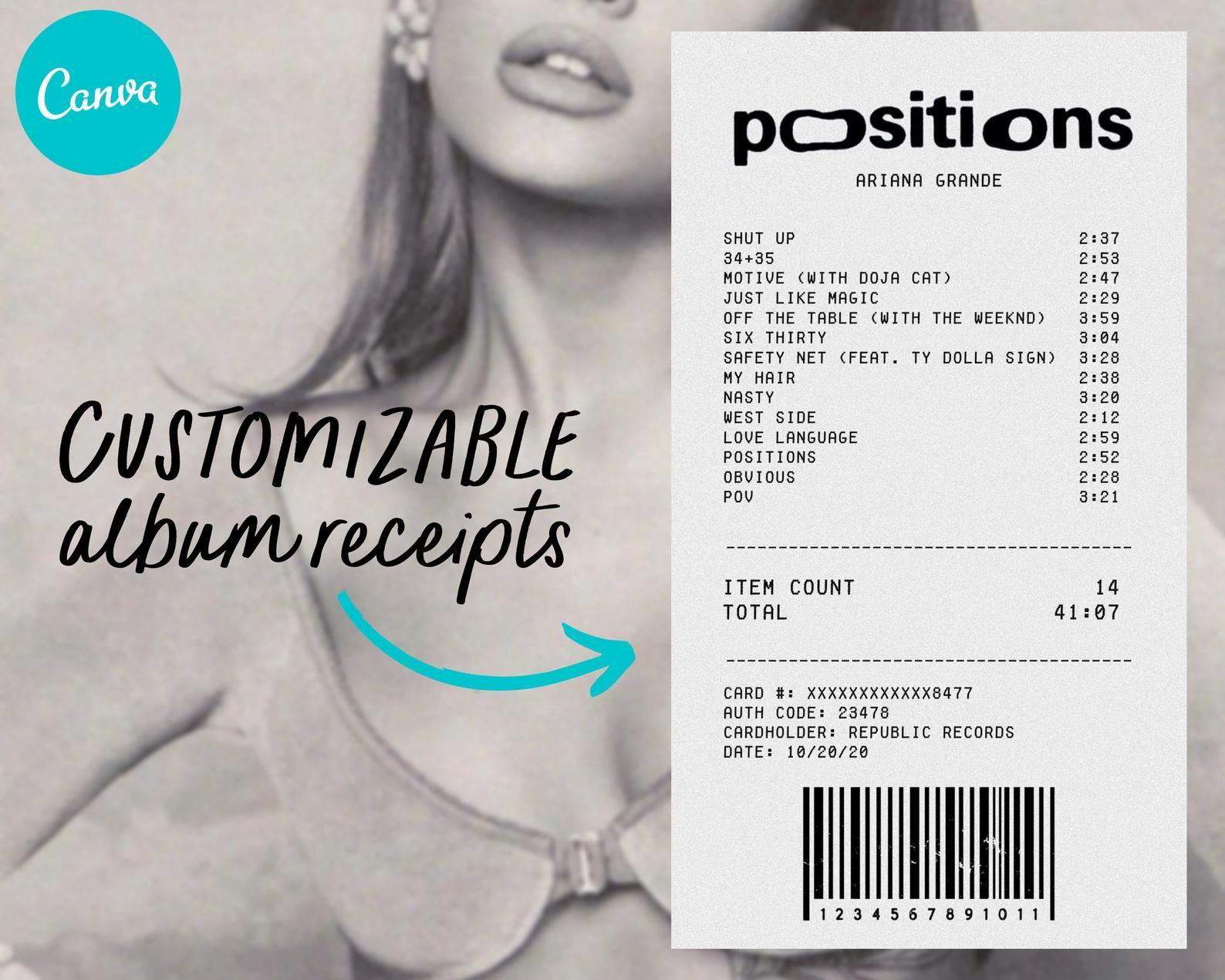 Customizable Album Receipt Template Canva Digital Download Receipt Template Album Templates