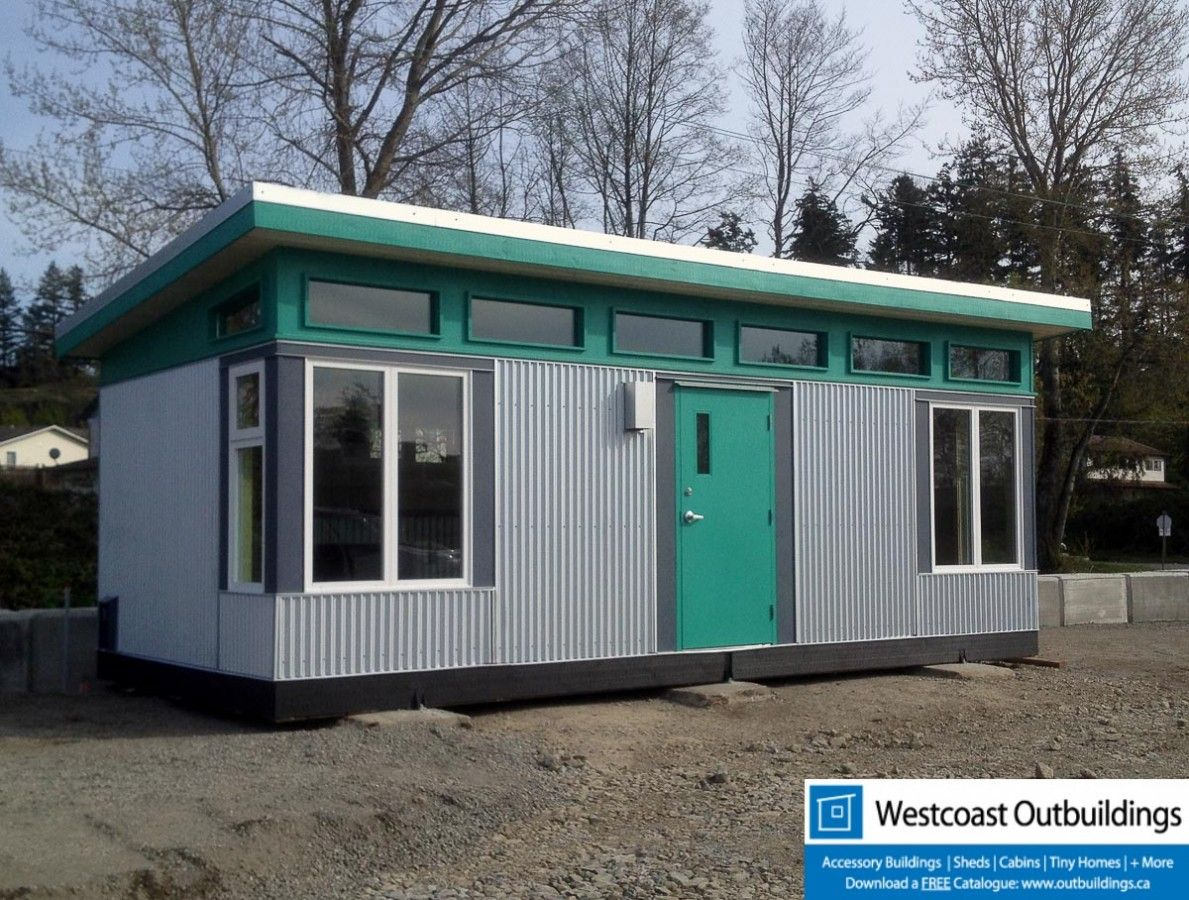 Modern sales office modular building prefab building prefab shed kit prefab kit hardie board corrugated clerestory windows shed roof contemporary