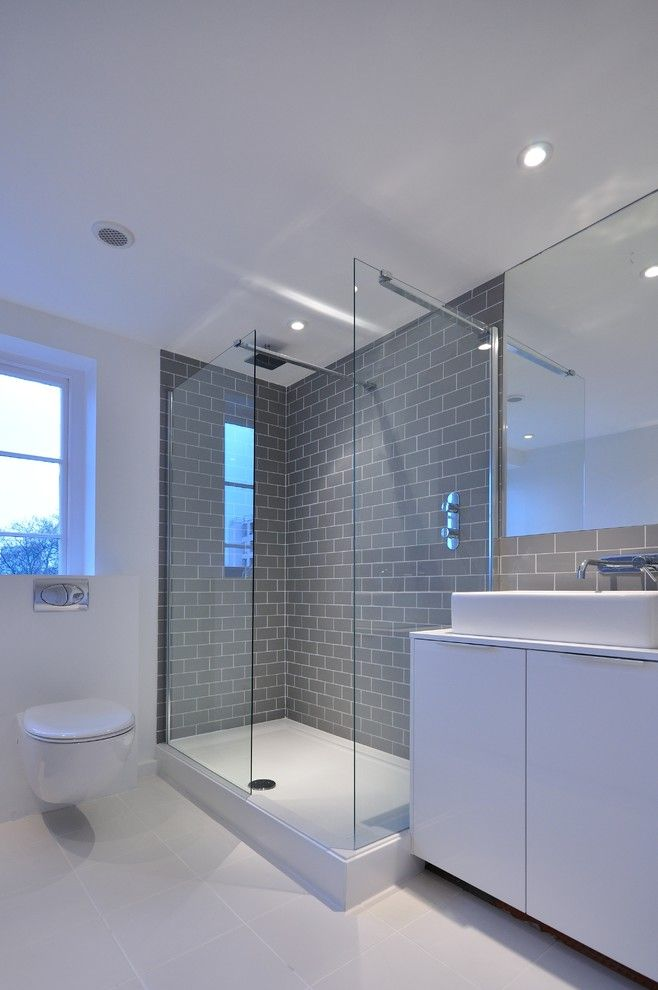 Gray Subway Tile Backsplash Bathroom Contemporary With Grey Metro Tile  Glass Shower