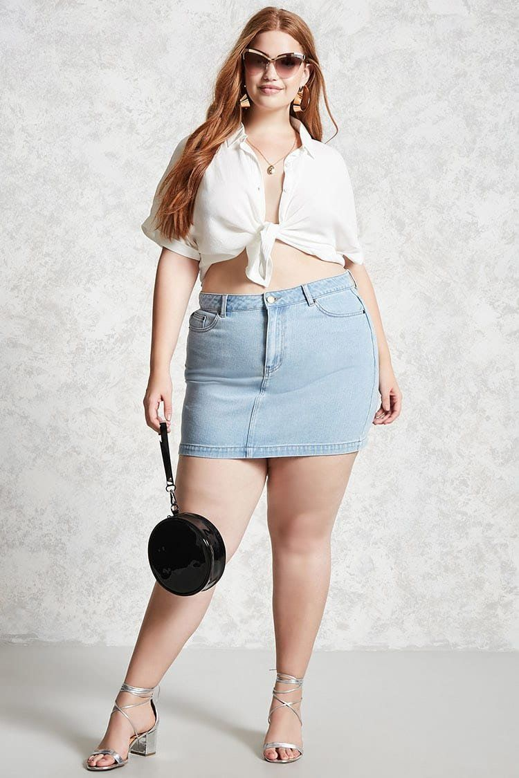ee11b4d9a5a6 Plus Size Denim Mini Skirt | Forever 21 | forever21 | plus | Plus ...