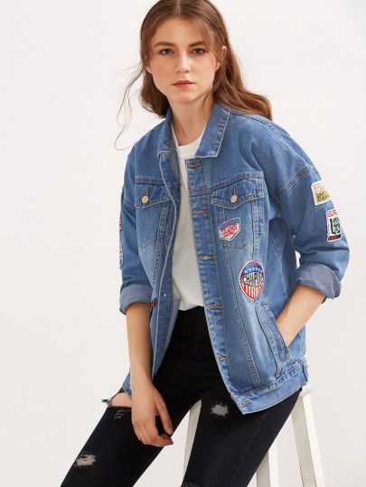 Blue Single Breasted Patch Wash Denim Jacket