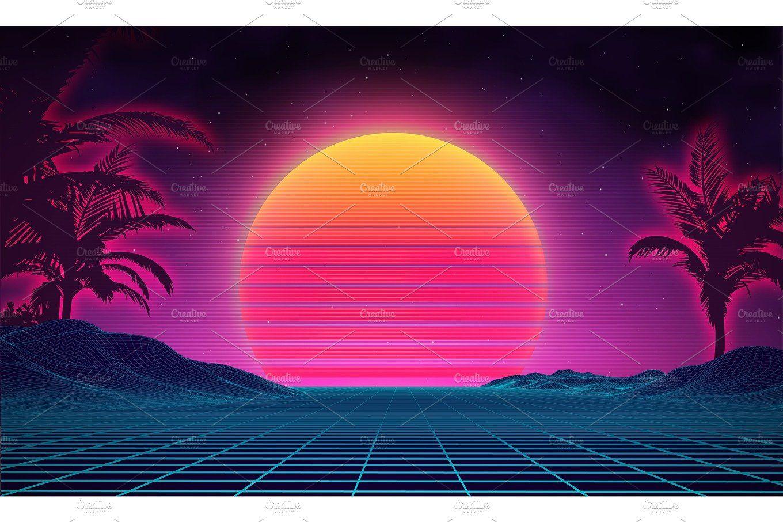 Retro Background Futuristic Landscape 1980s Style Digital Retro Landscape Cyber Surface 80s Par Sci Fi Background Retro Background Iphone Wallpaper Landscape