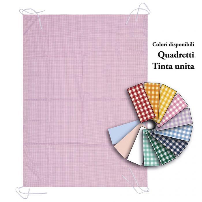 Lenzuolo Sotto, Quadretto e tinta unita con angoli 135x100 cm