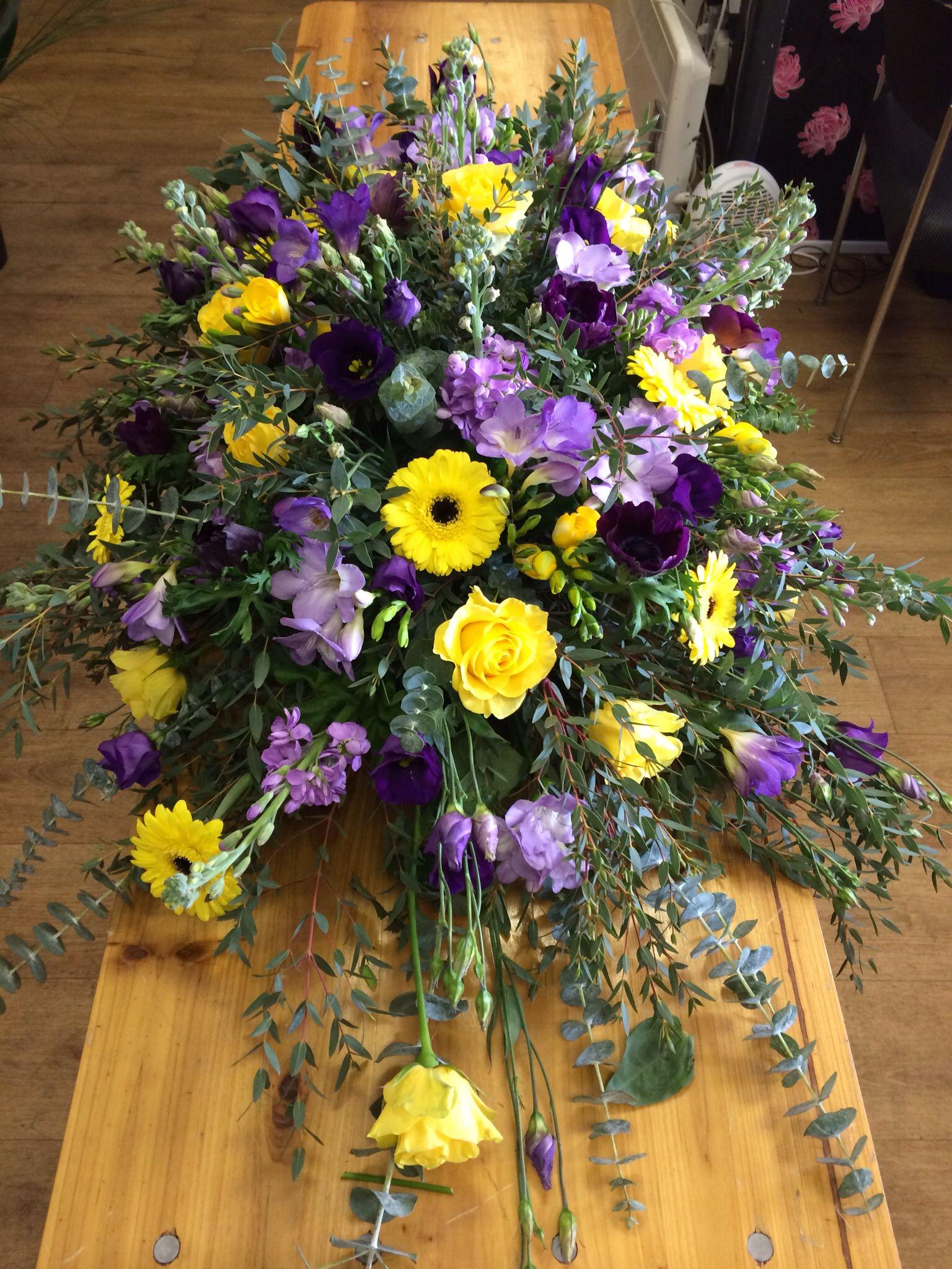 Purple And Yellow Coffin Spray Floral Funeral Tribute Casket