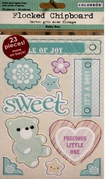 Colorbok Flocked Chipboard Baby Boy Embellishments