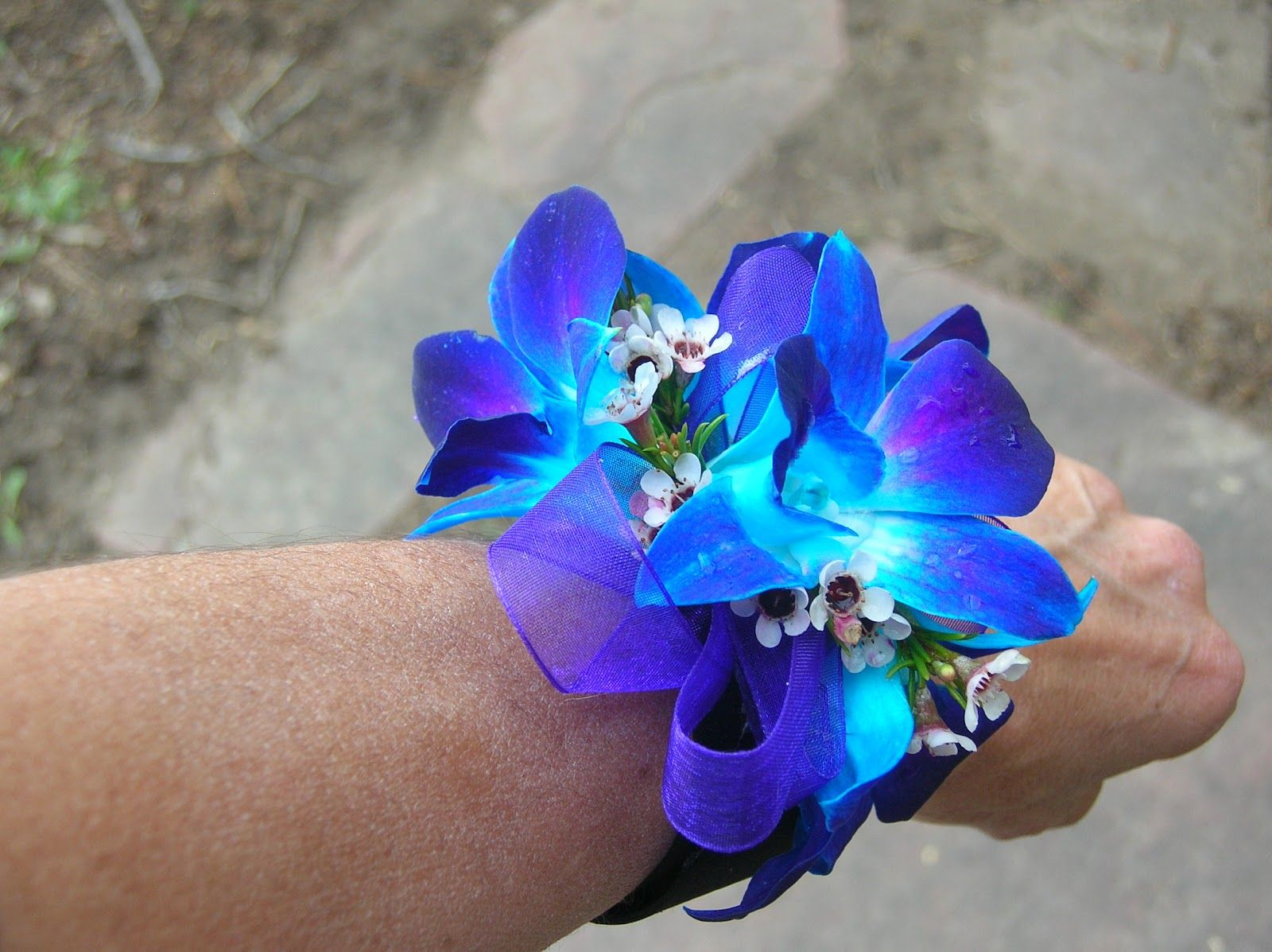 Blue bom orchid with white roses wedding the corsages for the moms
