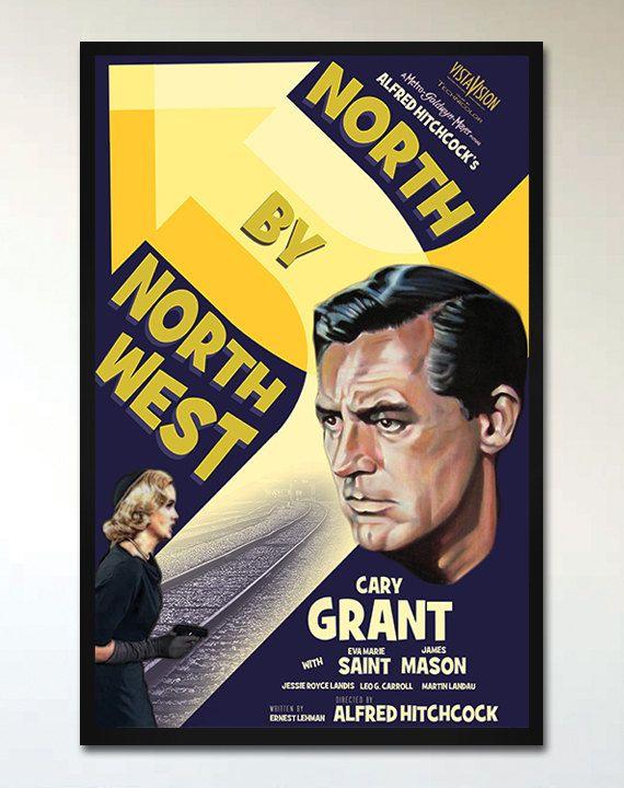 $20 - North by Northwest - Retro Alternative Movie Poster - 1930's - 1940's - Hitchcock