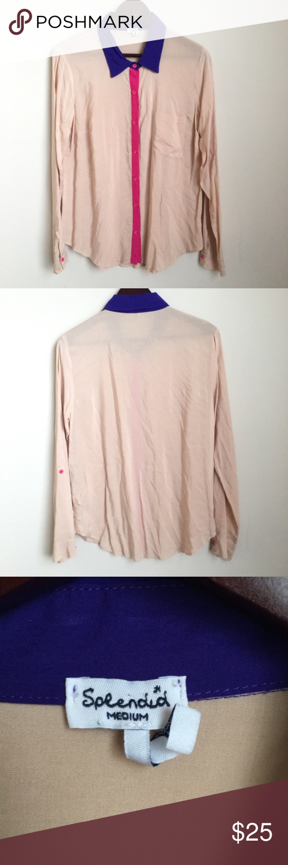 454aee4e515 Splendid Blush Pink Colorblock Button Down Shirt Blush pink with contrasting  purple and hot pink detail. Splendid top. Women s size M. Button up.