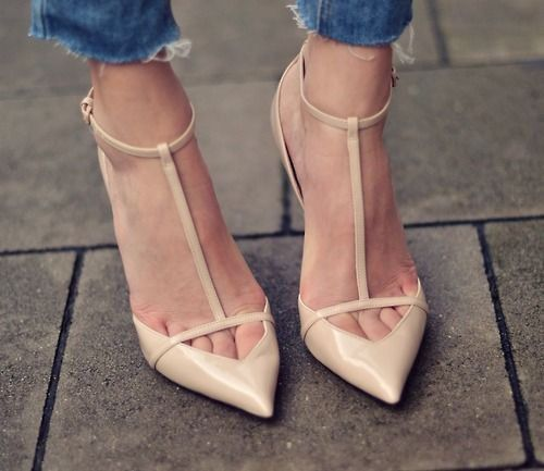 ZARA Court Low Cut High Heels Nude Beige Patent Leather Vamp T-bar ...