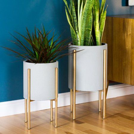 Wrought Studio Cipolla Mid Century 2 Piece Aluminum Pot Planter Set