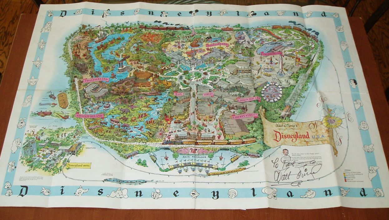 "Walt Disney's signature is a giant 6"" long on this map which measures 45"" across."
