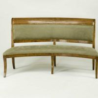 Furniture Green Velvet Curved Dining Bench With Back Using Brown Wooden Frame And Legs